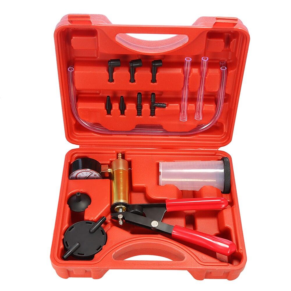 Hand Gehalten DIY Brems Flüssigkeit Bleeder Verwenden Werkzeuge Vakuum Pistole Pumpe Tester Kit Aluminium Pumpe Körper Druck Vakuum Gauge 2 in 1 werkzeug Kits