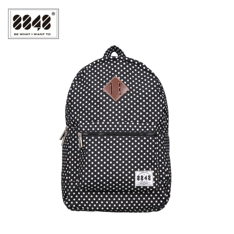 8848 Waterproof Casual Women Backpack Black Korean School Bags Travel Backpacks For Teenage Girls Preppy Style Dots Women Bag famous brand laifu design women lightweight nylon bag teenage girls school backpack preppy style shopping travel black coffee page 9 page 7 page 1