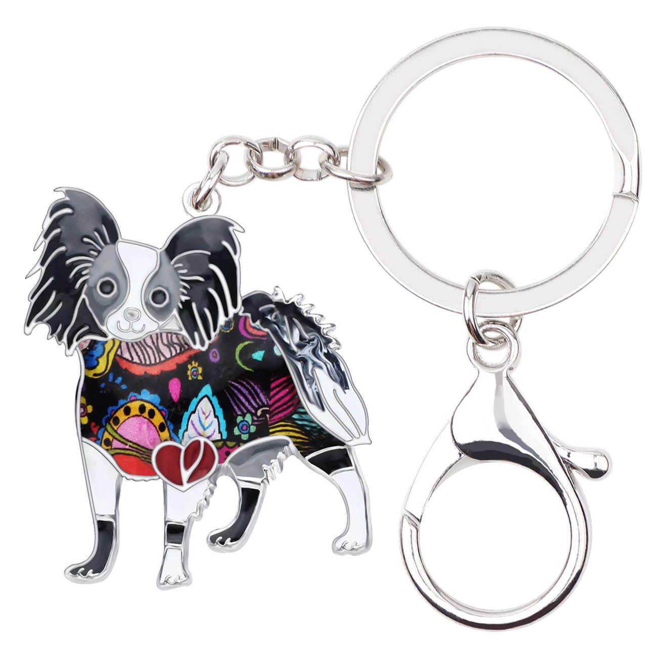 Bonsny Men Hợp Kim Papillon Dog Móc Khóa Móc Chìa Khóa Nhẫn Chủ Mới Lạ Động Vật Trang Sức Cho Phụ Nữ Cô Gái Túi Xe Quyến Rũ Quà Tặng mới