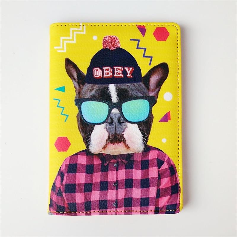 Cool glasses husky Dog PU Leather Passport Cover Travel Passport Holder Bag Passport Case Wallet License Credit Card Holder travel accessories passport bag case cover credit card holder driver license for files organizer handbag wallet document package
