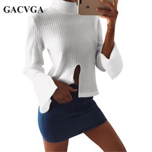 GACVGA 2017 New Turtleneck Flare Sleeve Blouse Shirt women Sexy Front Split Summer Tops Elegant Party Knitted Top Casual Blusas