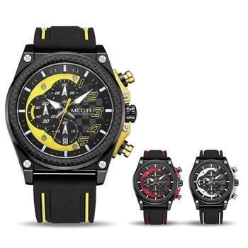 933aeae3e34d Reloj deportivo cronógrafo para hombre MEGIR reloj de cuarzo militar de  gran Dial creativo reloj de