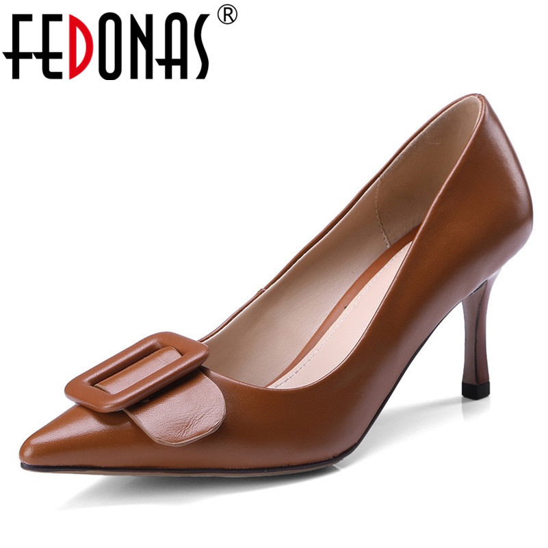 FEDONAS Elegant Women Genuine leather Pumps High Heels Pointed Toe Buckles Wedding Party Shoes Woman Retro Quality Office Pumps fedonas sexy women sandals high heel buckles wedding party shoes woman genuine leather ladies shoes pointed toe summer slippers