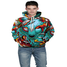 2017 winter clothing hot style Christmas 3D printing the Wolf demon loose big yards couples are hooded fleece single men women'