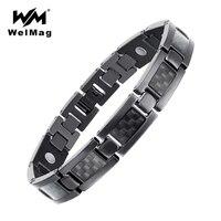 WelMag Mens Black Titanium Bracelets Bangles with Carbon Fiber Healing Magnetic Bracelet Male Dropship 2019 Blood Pressure