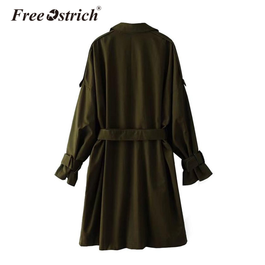 2018 Turn khaki Tranchée Long Réglable Col Army Femmes Libre Autruche Manteau Dames Double Green down Solide Taille Breasted ngwx8U55qT