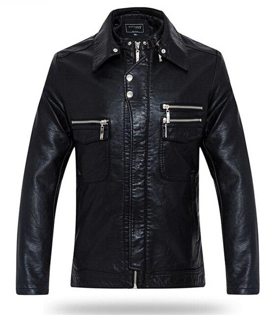 Продукты весна мужчины в кожа пальто двойной воротник город мальчик пальто хан издание мотоцикл кожа куртки M-XXXL