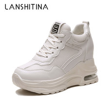 2019 Summer Women Sneakers Mesh Casual Platform Trainers White Shoes 9CM Heels Wedges Breathable Woman Height Increasing
