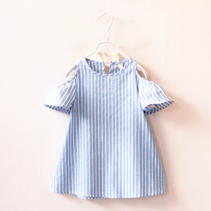 Hot Sale Baby Girls Vertical Striped Dress Princess Blue Strapless Party Dress Infant Girl Fashion Dresses Children Clothes New