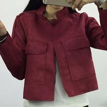 6 Color Women Basic Coat 2016 Autumn Jacket Women Pocket Solid Color Fur Coat Female Casaco Fashion Long Sleeve Chaquetas Mujer