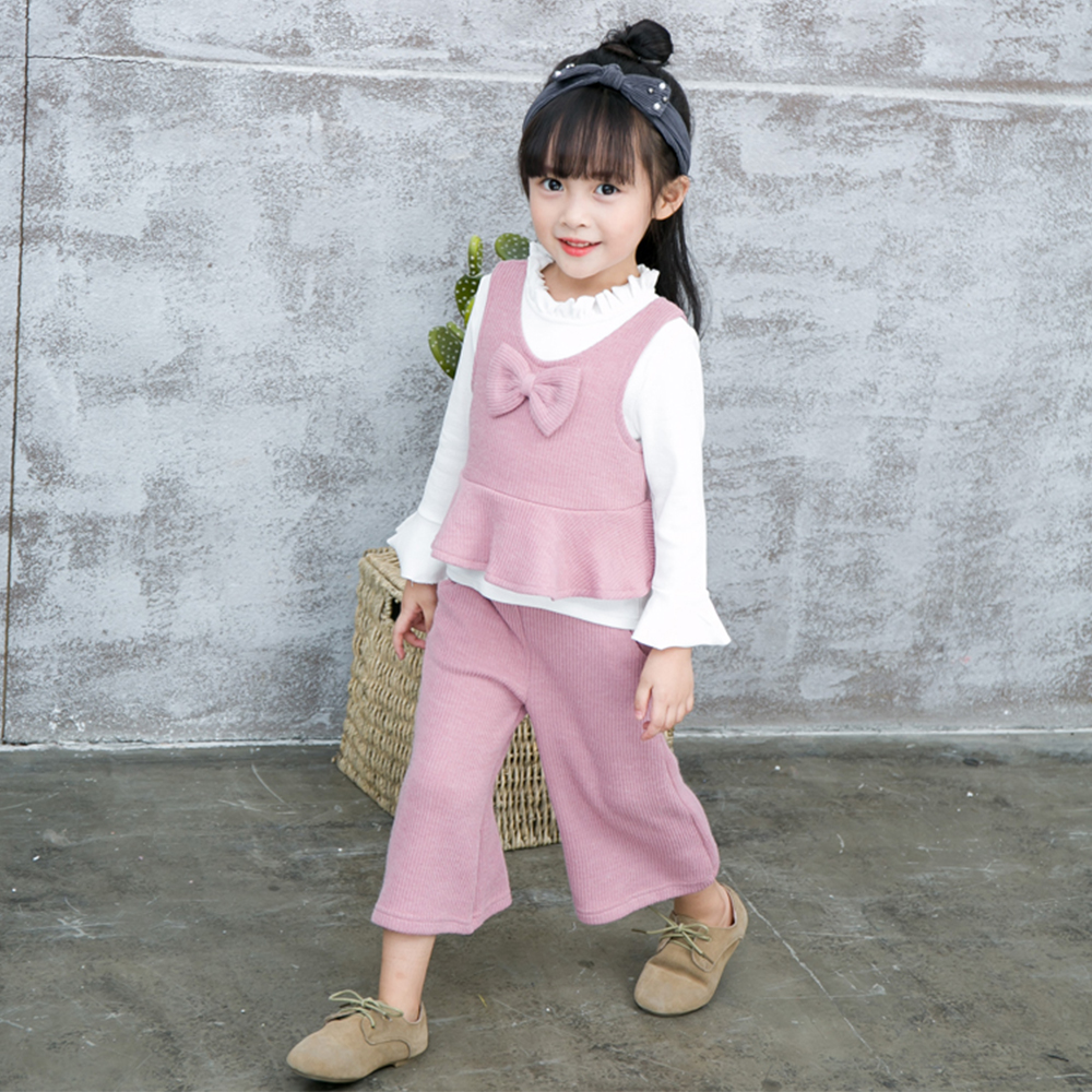 JN501 Spring Autumn 3PCS Set Cute Baby Girls Clothes Kids Tops+Bowknot knit vest+Knitted Long Pants Children Girl Clothing Set