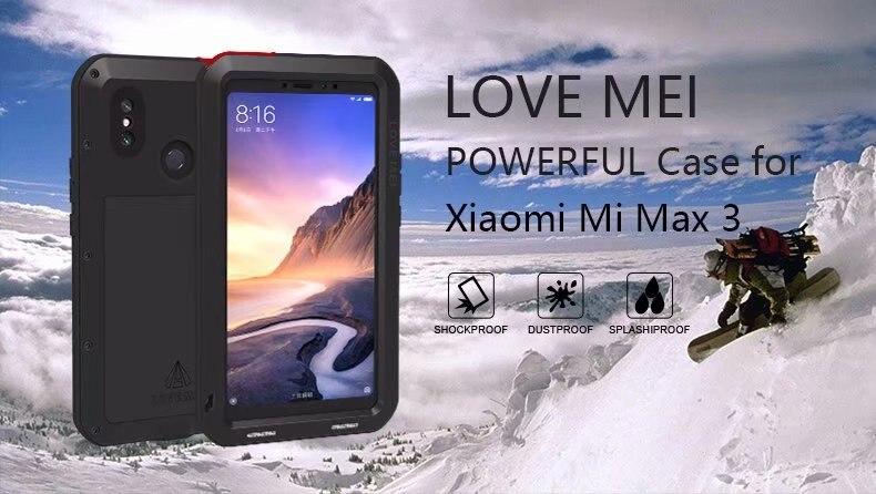 Boîtier de marque Mei amant puissant pour Xiao mi Max 3 Alu mi num métal résistant aux chocs étanche à la poussière double étui de Protection