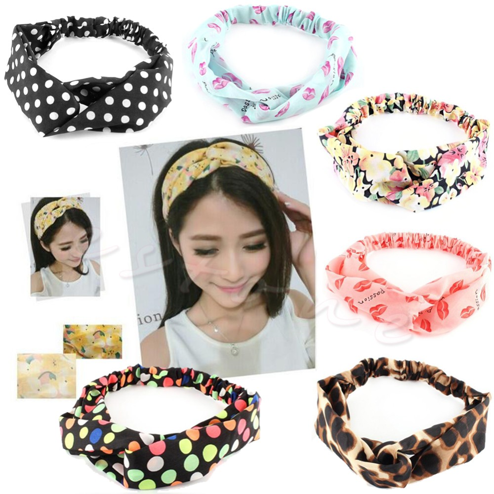 New korea style Women Cotton Turban Twist Knot elastic Head Wrap Headband floral print Twisted Knotted