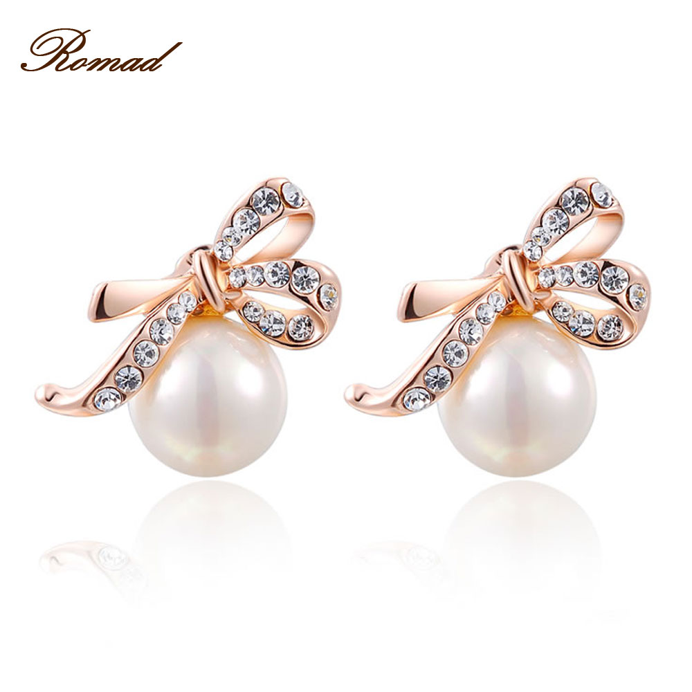 2017 Romad Bow Pearl Drop Earrings Rose Gold Color Rhinestone Pearl Drop  Earrings Fashion Jewelry For