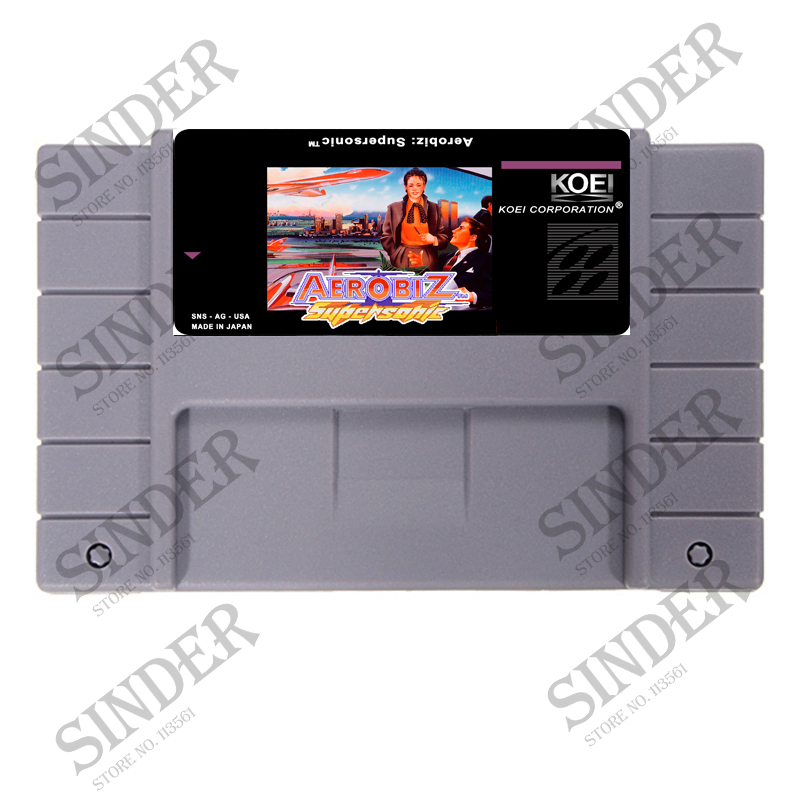 AEROBIZ SUPERSONIC Good Quliaty Label 16 Bit Big Gray Game Card for NTSC Game Players