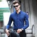 Luxury brand мужчины клетчатую рубашку Высокого качества Шерсти Сорочка homme вскользь Тонкой Длинным рукавом бизнес мужчины платье рубашка плюс размер Camisa