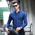 Luxury brand men plaid shirt High quality Wool Chemise homme Casual Slim Long sleeve business male dress shirt plus size Camisa