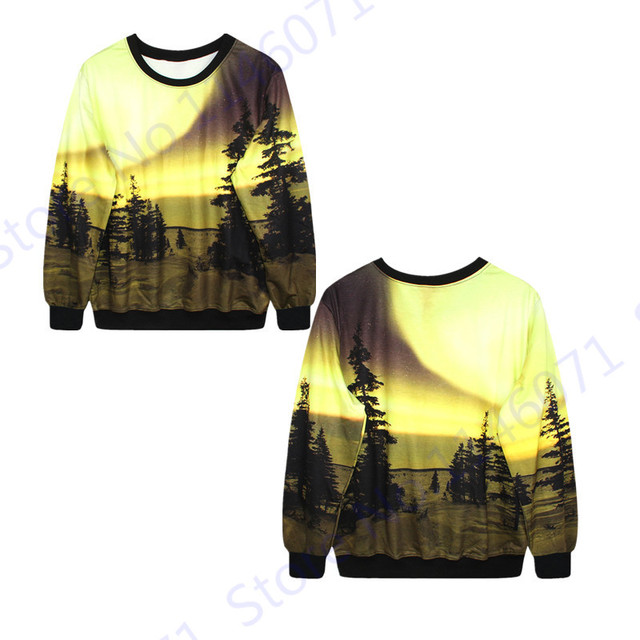 Aurora Boreal Forest Training Exercise Sweaters Autumn Loose Sweatshirt  Winter Streetwear Sport Suit Yellow Punk Hoodie Womens c2811163e