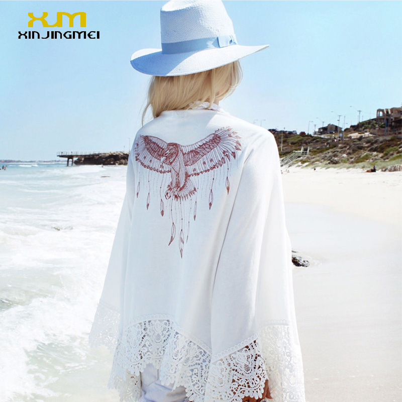 New style beach cover up eagle printing bikinis swimsuit beach tunic long sleeves sunscreen lace chiffon pareo bathing suit