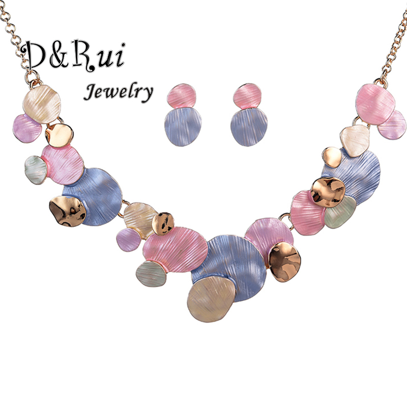 Unique Design Circular Geometric Jewelry Sets for Women Fashion Woman Party Wedding Statement Chain Necklaces and Earrings Set