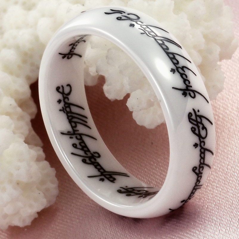 6mm lord of the rings vintage white ceramic finger circle couple rings wedding band engagement party gift bijoux alliance bague 6mm lord of the rings - Lord Of The Rings Wedding Band