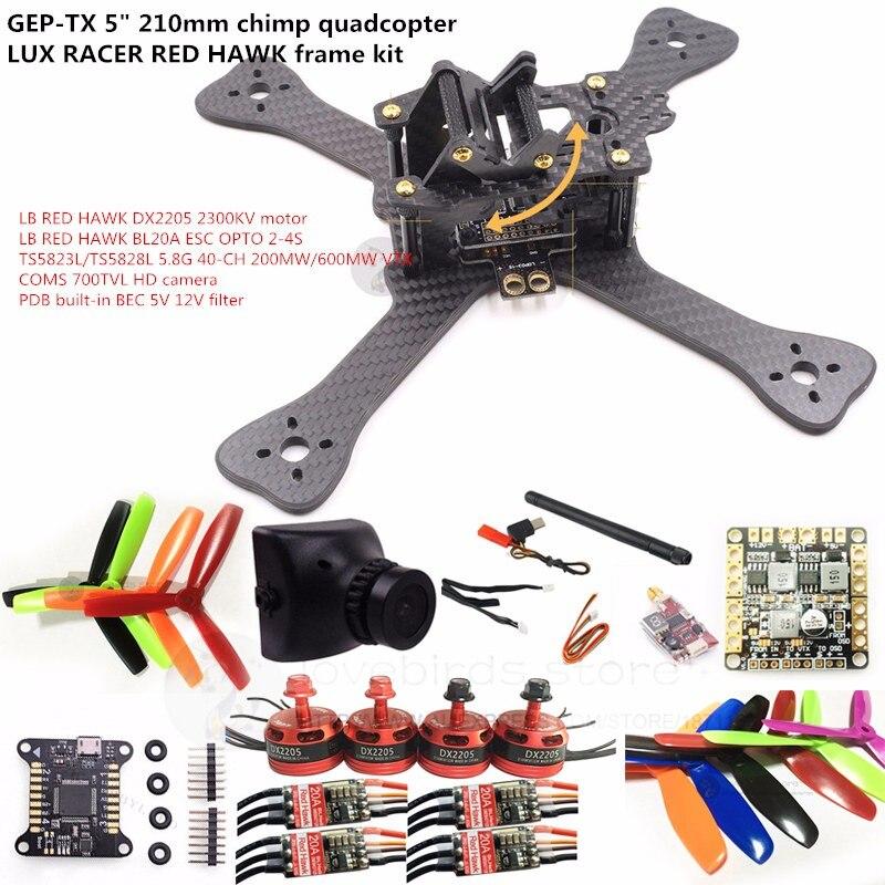 DIY FPV mini drone GEPRC GEP-TX 5 210mm chimp LUX RACER frame kit RED HAWK DX2205 + BL20A ESC + 700TVL CAM +TS5823L/TS5828L diy fpv mini drone geprc gep rx5 hawk quadcopter 3k carbon fiber 210 frame stagger arm design 4mm main up lower plate