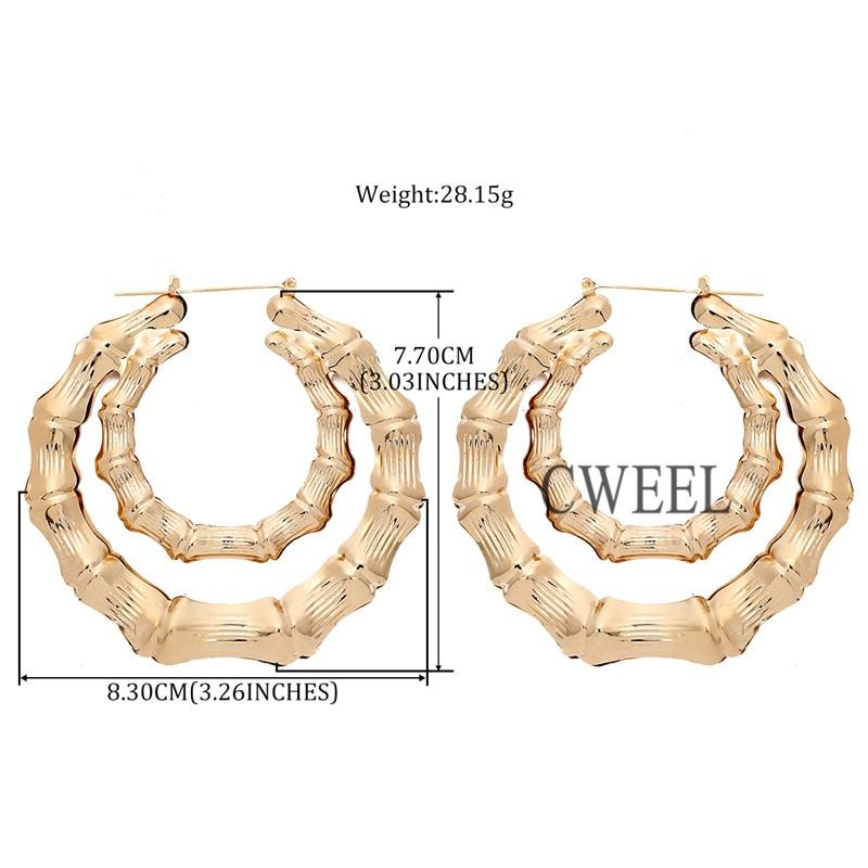 57e12f1c2a4ee CWEEL Bamboo Earrings For Women Big Punk Hoop Earring Brincos ...
