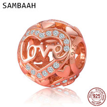 Sambaah 925 Sterling Silver Heart CZ Stone with Love Word Round Charm Beads fit Pandora Valentine's Day Gift Bracelet SS3496