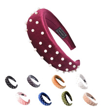Pearl Headband for Women Chic Sponge Wonder Hair Accessories Wide Bands Thick Hairband Fashion Velour Head Band Velvet Hoop