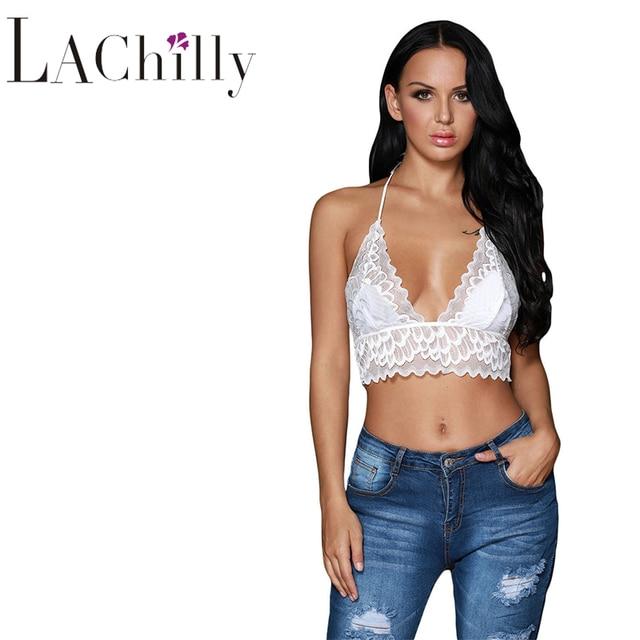 963f673ed7 brandy melville 2018 Summer New Sexy Women Clubwear White Sheer Scalloped  Lace Halter Bralette Top LC250018 Tanque De Renda