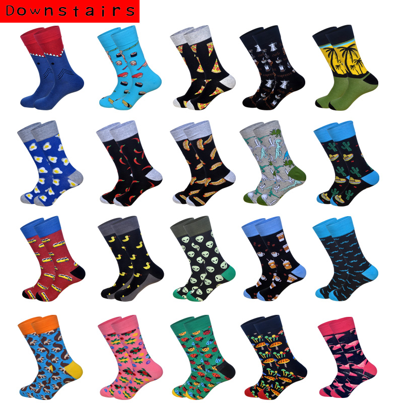 Downstairs Trend Men   Socks   Pizza Moustache Mushroom Hip Hop Spring Summer Crew Happy   Socks   21 Colors Gifts for Men