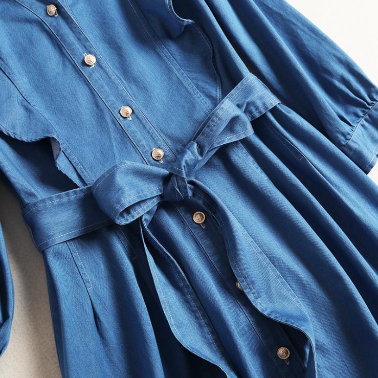 Printemps quarts Et Denim Style Bord Américain Champignon Manches Nouveau Col Robe 2019 Noir Mode Européen V Trois De Femmes Y4Tvpv