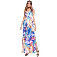 2018 New Fashion Women's Summer Beach Split Long Dress Print Dress Plantain Leaves O Neck temperament Dress