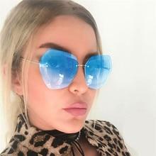 Rimless Diamond Cutting Lens Sunglasses For Women Brand Designer Shades Sun Glasses Oversize Womens