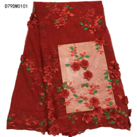 Luxury Red Lace Fabric Tops Handmade Beaded Embroidery Tulle Lace Fabric High Quality 3d African Lace