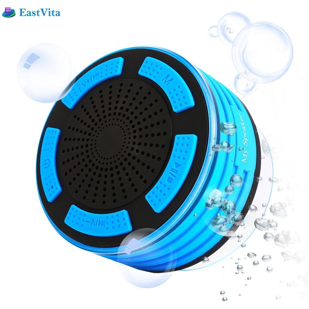 EastVita Portable Waterproof wireless Bluetooth Speaker column Strong Suction Cup Multiple Color LED Light FM Radio computer rr3