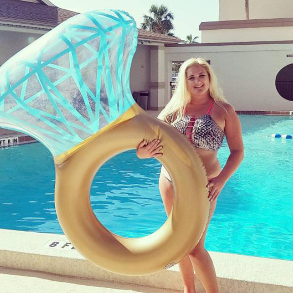 2018 new Gold Diamond Ring Swimming Float Inflatable Swim ring Pool Float Tube Raft Kid adult holiday Summer Water Toys