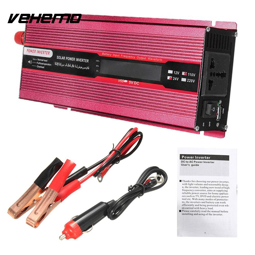 Vehemo Modified Sine Wave Auto Inverter Power Supply Car Inverter Portable Solar Power Inverter Outdoor Vehicle