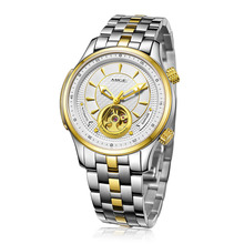 Купить с кэшбэком 2017 Top Sale Real Brand Skeleton Mechanical Mans Watch Gold Watchband Saphire White Dial Waterproof Automatic Man Wristwatches