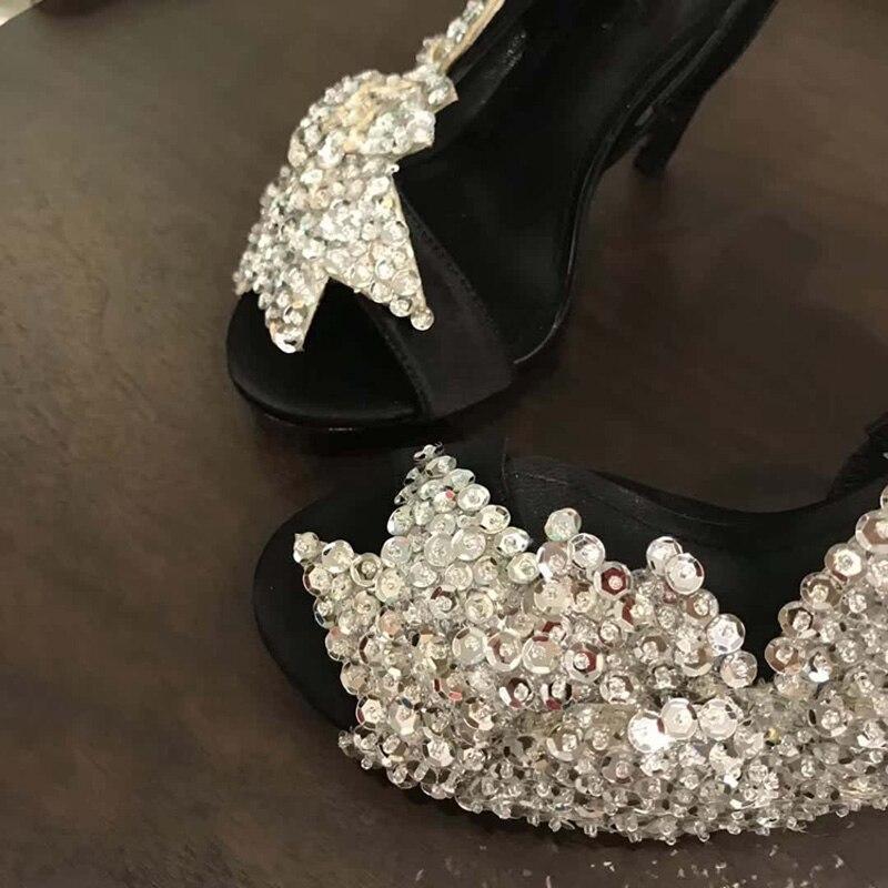 Модные блестящие Обувь на высоком каблуке 2018 г. летние босоножки Для женщин новые Блестки блестка Крылья блестящие босоножки пикантные атласные вечерние туфли на высоком каблуке - 5