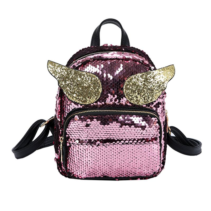 Mini PU+Sequins Backpack Women School Princess Bling Backpack Bag All-match Small Travel Sequins Backpack Mochila Feminina#30