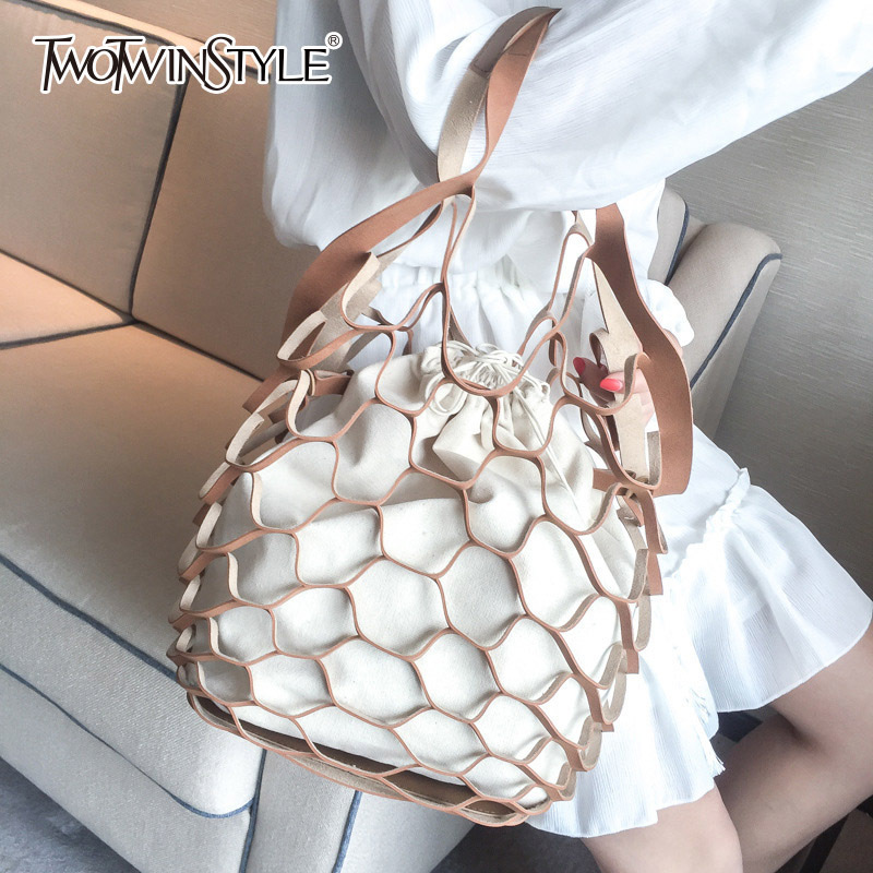 TWOTWINSTYLE Belt With Woman Package Fishing Net Hollow Out Draw String Canvas Bag Matting Portable Package Korean Accessories