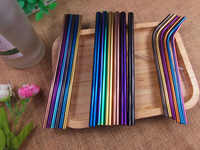 (48pcs) Rainbow Stainless Steel Straws Straight Bend Drinking Straws Juice Straw Bar Tools Color Mixed 12mm 6mm Mixed