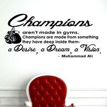 Boks Ali inspirujące cytaty naklejki ścienne winylowe boks entuzjasta męska siłownia boks sport home decoration naklejka 2GY8