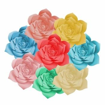 FENGRISE 2pcs 20cm DIY Paper Flowers Backdrop Decorative Artificial Flowers Wedding Favors Birthday Party Home Decoration