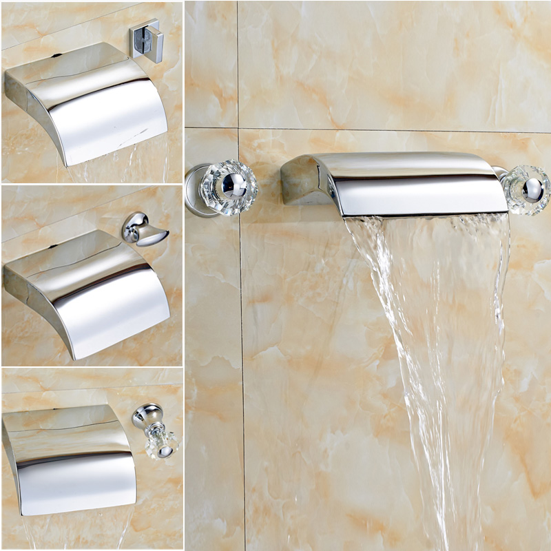 Wholesale and Retail Chrome Finish Wall Mounted Two Holders Three Holes Water Faucet for Bathroom wholesale and retail chrome finish bathroom wall mounted basin sink countertop faucet