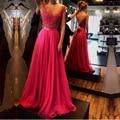 2017 un line scoop escote de espalda roja del cordón largo prom dress con cuentas robe de soirée gasa formal elegante vestidos de baile
