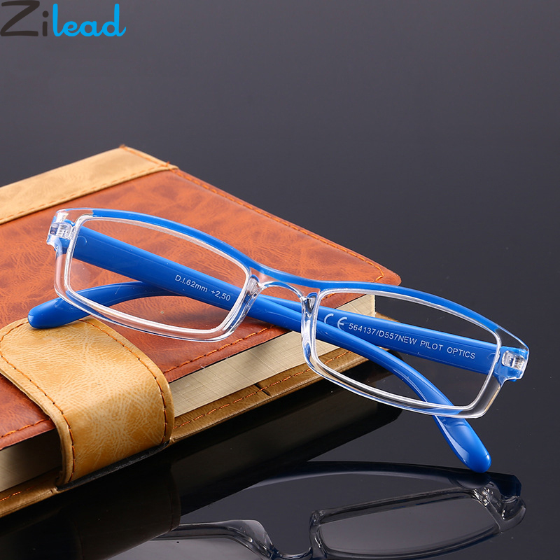 Zilead Ultralight Full Frame Clear Leans Reading Glasses Women&Men Resin HD Presbyopic Glasses +1.0to+4.0 Unisex