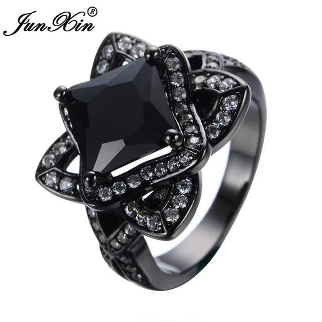 JUNXIN New Unique Big Flower Design Black Rings Gold Filled Fashion Jewelry Vintage Wedding Rings For Men And Women Gifts