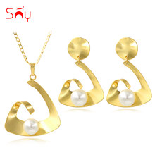 Sunny Jewelry Cute Romantic Jewelry Sets Necklace Earrings Pendant For Party Wedding Fairy Simulated-pearl Jewelry Set For Women(China)